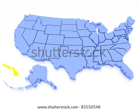 3D map of United States - State California - stock photo