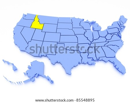 3D map of United States - State Idaho - stock photo