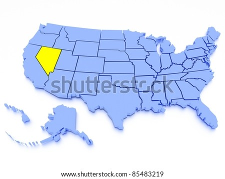 3D map of United States - State Nevada - stock photo