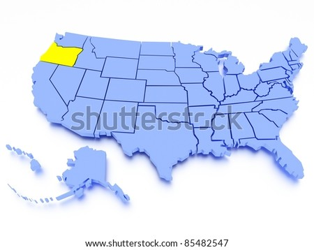 3D map of United States - State Oregon - stock photo