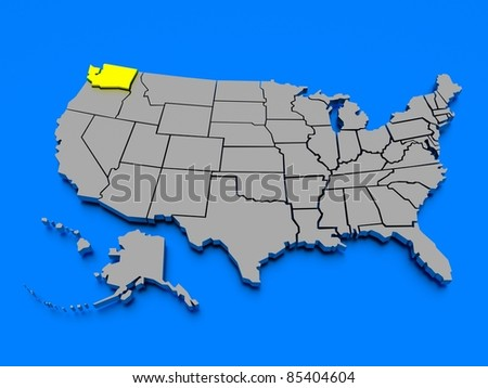 3D map of United States - State Washington - stock photo