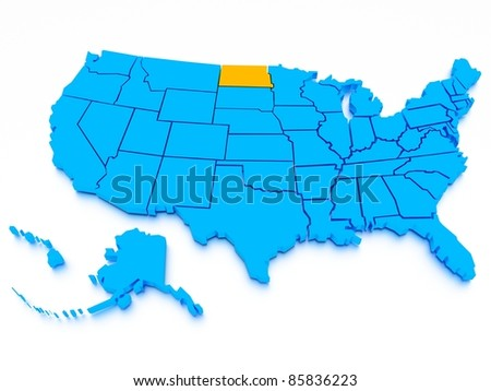3D map of USA - stock photo