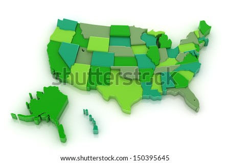 3D map of USA with Alaska and Hawaii. Isolated on white background