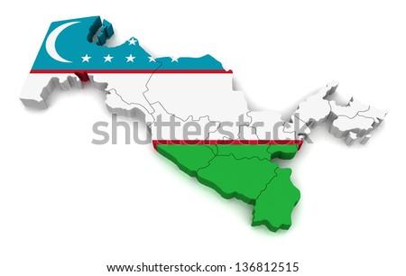 3D Map of Uzbekistan - stock photo