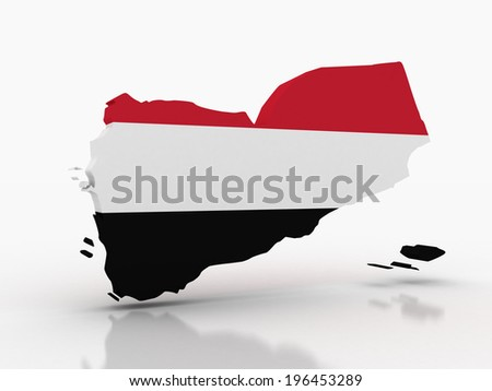 3D map of Yemen filled with flag of the state - stock photo