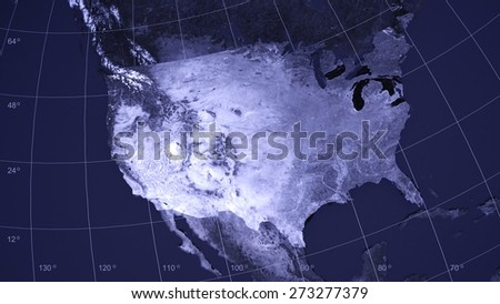 3D. Map, USA, Topography. - stock photo
