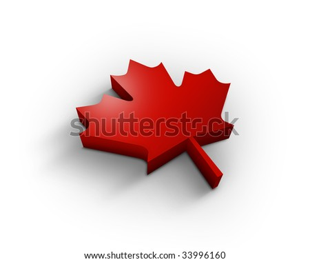 3d maple leaf - stock photo
