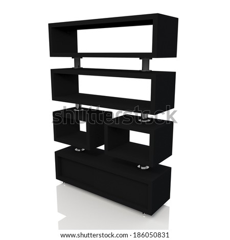 3d matte black and aluminum column store shelves and new design for products showing in convenience store isolated background with work paths, clipping paths included  - stock photo