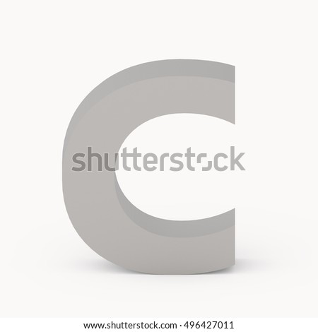 3d Matte grey font C, 3D rendering graphic isolated white background