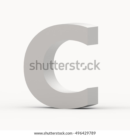 3d Matte grey right leaning font C, 3D rendering graphic isolated white background