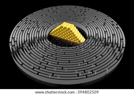 3D maze/ labyrinth concept - gold. - stock photo