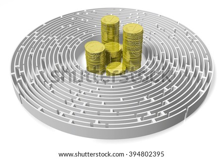 3D maze/ labyrinth concept - with golden coins. - stock photo