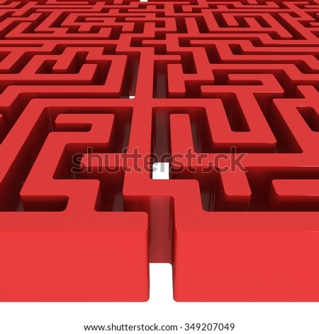 3D Maze. Labyrinth shape design element. One entrance, one exit and one right way to go. But many paths to deadlock. Unique design element abstract render maze isolated on white background. - stock photo