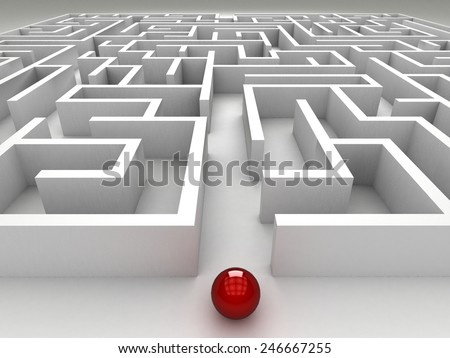 3D maze on the white background - stock photo
