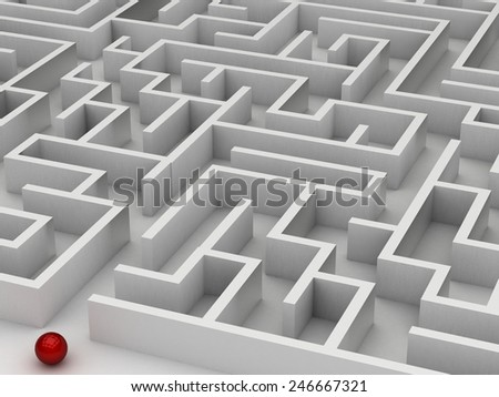 3D maze on the white background