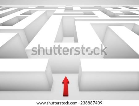 3D Maze or labyrinth and a red arrow at the entrance. Business concept of challenges and choices ahead. - stock photo