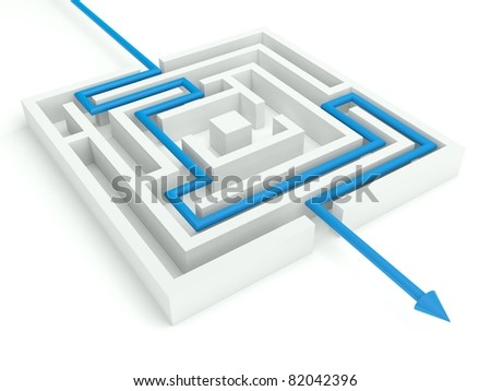 3d Maze Solved, Business Concept - stock photo