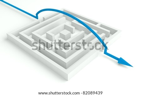 3d Maze Solved, Smart Solution - stock photo