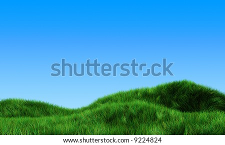 3d meadow with blue sky - stock photo