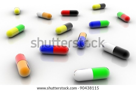 3D Medical capsules of different colors on  white background