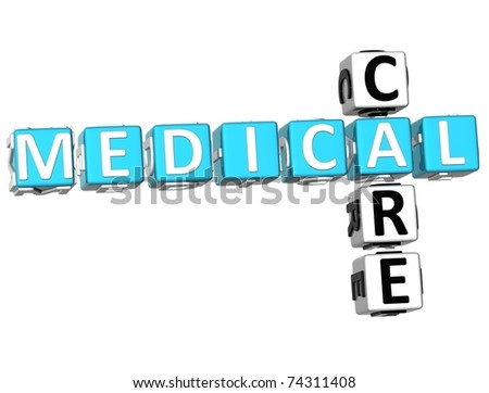3D Medical Care Crossword on white background