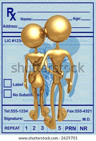 3D Medical Concept Couple Over Medicine Prescription - stock photo
