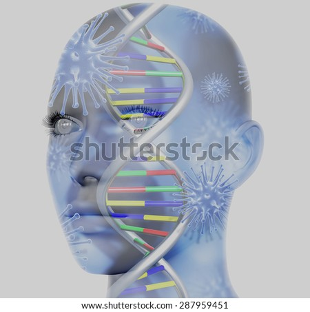 3D medical concept image with female face and DNA strands - stock photo