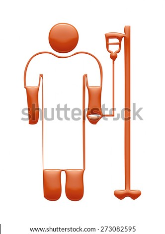 3D Medical Icon in red on isolated white background. - stock photo