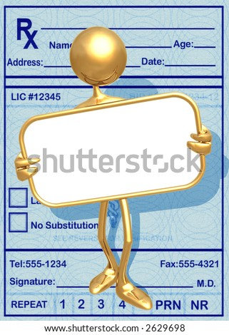 3D Medical Presentation Concept Holding A Blank Sign
