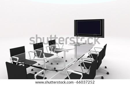 3d meeting room - stock photo