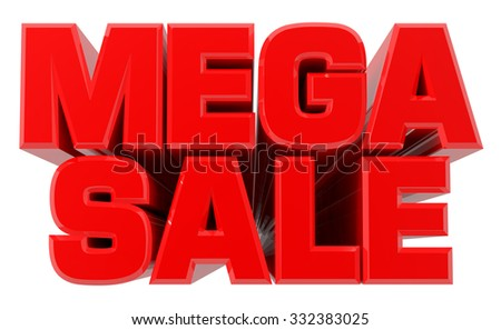 3D MEGA SALE word on white background 3d rendering - stock photo