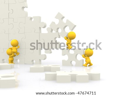 3D men assembling puzzle isolated over white