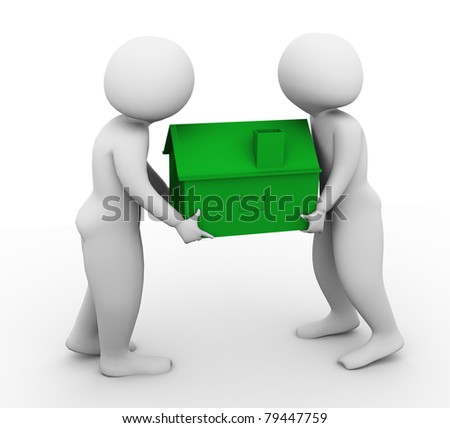 3d men carrying green house on white background