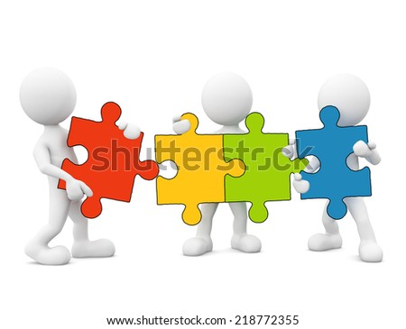 3D Men Holding Connected Jigsaw