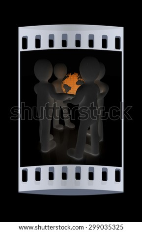 3d men holding the Globe on a black background. The film strip - stock photo