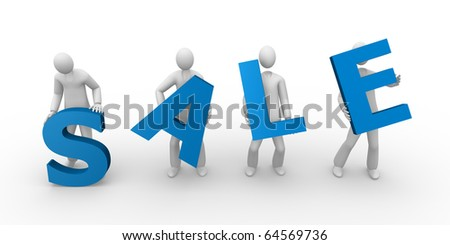 3d men holding the word sale - stock photo