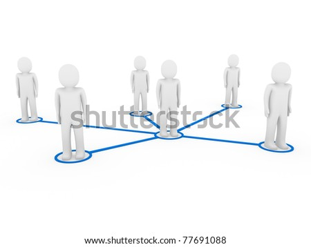 3d men network social blue people connection teamwork - stock photo