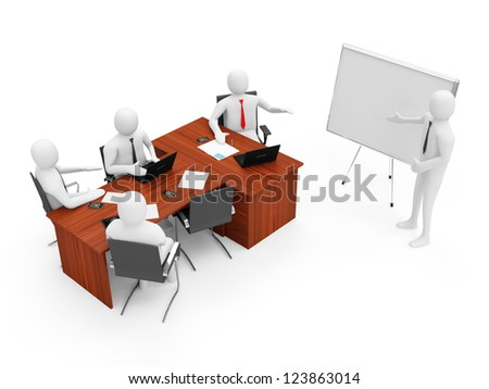 3d Men on a Business Presentation isolated on white background