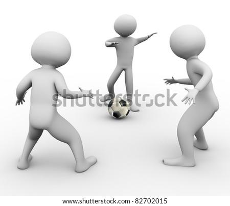 3d men playing soccer game - stock photo