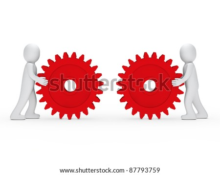 3d men push gear red to connecting - stock photo