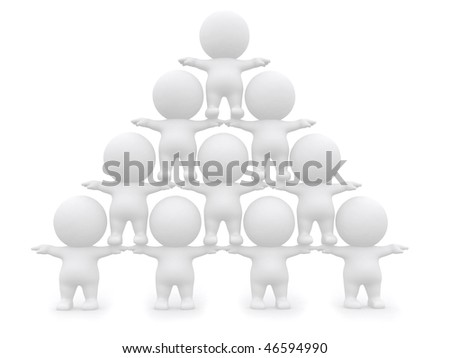 3D men pyramid isolated over a white background