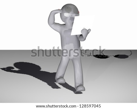 3d men read on paper and trying to make a call on a mobile phone . - stock photo