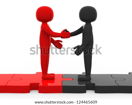 3d men shaking hands on puzzle pieces. The concept of business partners. 3d render - stock photo
