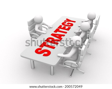 3D men sitting at a table and having business meeting - And word STRATEGY - 3d render illustration  - stock photo