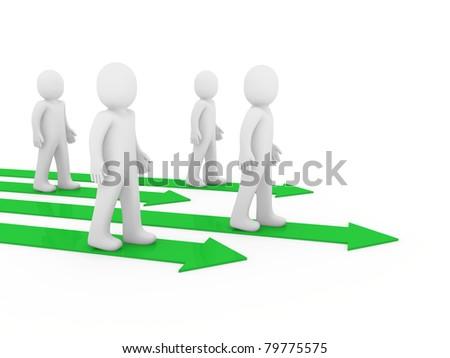 3d men team arrow way green win people - stock photo