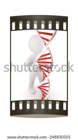 3d men with DNA structure model on a white background. The film strip - stock photo