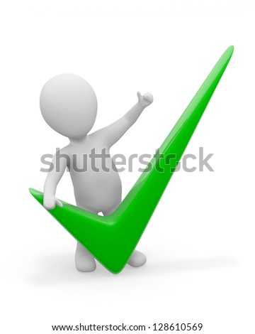 3d men with green check mark. On white background - stock photo