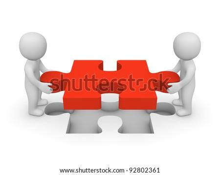 3d men with puzzle piece - stock photo