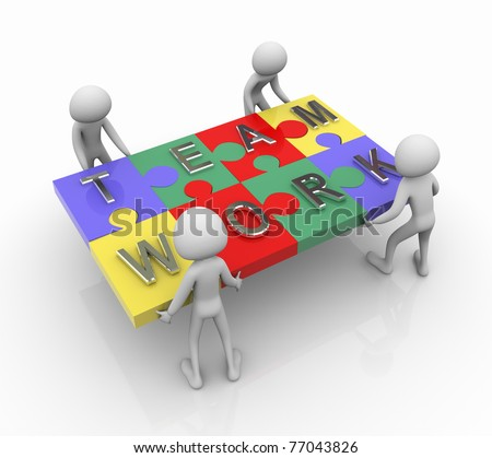 3d men working together for completing team work puzzle - stock photo