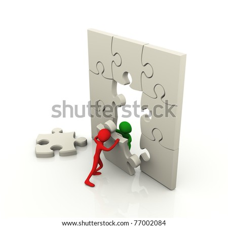 3d men working together with puzzle piece - stock photo